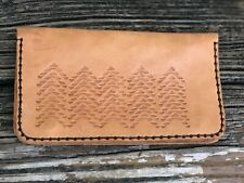 Vintage Tooled Leather Wallet Brown Passport Holder Billfold Zig Zag 70s 80s