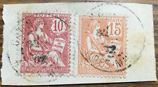 2 Sellos Francia usados 1900 1902 Yvert  117 Y 124