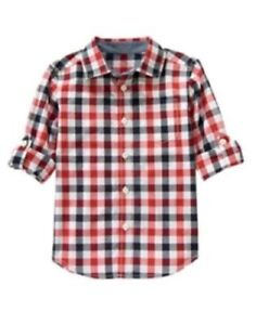 GYMBOREE ALL-STAR CHAMP RED & NAVY GINGHAM WOVEN L/S SHIRT 7 8 NWT