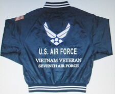 SEVENTH AIR FORCE *VIETNAM VETERAN*AIR FORCE EMBROIDERED 2-SIDED SATIN JACKET