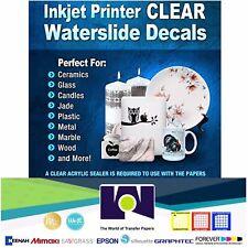 """INKJET Waterslide DECAL CLEAR Paper 30 Sheets 8.5x11"""" WATER SLIDE Transfer Paper"""