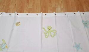 Pottery Barn Kids Fish Crab Turtle Sea Decorated Fabric Shower Curtain EUC