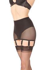 Suspender Belt Retro Bodice Garters Black Size L Powermesh