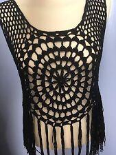 Rebellion Black Crochet Vest Top Fringe Tassel Boho Festival Holiday Ibiza 8-10