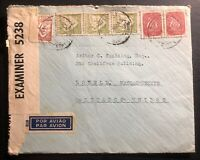 1943 Lisbon Portugal Censored Airmail Cover To Lowell MA USA