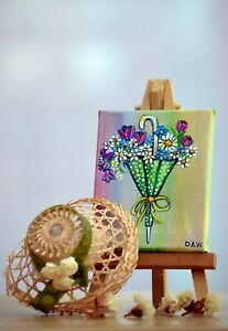 Flowers & Umbrella Original Acrylic Miniature on Canvas Painting Easel included