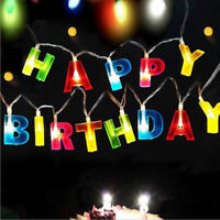 Happy Birthday LED String Lights Battery Operated Birthdays Letter Party Banner