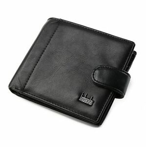 GENUINE Leather Wallet Mens Black Money Purse ID Perfect Gift/Present UK