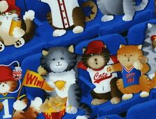 Timeless Treasures Sports Fan Cats Novelty Cotton Fabric CAT-C1143-Blue BTY