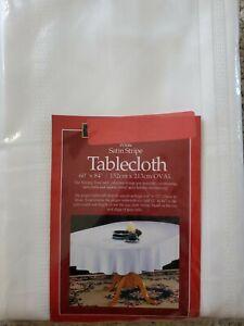 "White Oval 60"" x 84"" Fabric Tablecloth Satin Stripe"
