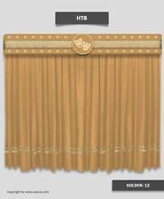 Burgundy HT-8 Velvet Home Decorative Stage Curtains Gold Stripe Drape 14'W x 8'H