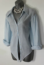 MONSOON Pale Blue Crinkled Cotton Long Sleeve Embellished Casual Shirt Top M