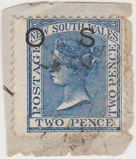 (T20-53) 1888 VIC 2d blue QVIC O/P OS on piece