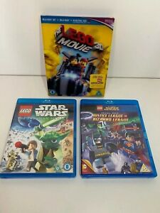 Blu Ray Movie Bundle Job Lot x3 Lego Movie 3D Star Wars DC Comics Super Heroes