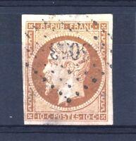 """FRANCE STAMP TIMBRE 9 """" LOUIS-NAPOLEON 10c BISTRE 1852 """" OBLITERE TB A VOIR T125"""