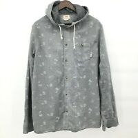Vans Off The Wall Mens Cotton Hooded Gray Paisley Print Button Up Shirt Size XL