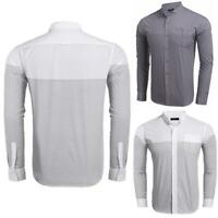 Men's Stand Collar Long Sleeve Striped Pocket Casual Button Down Shirt B98B