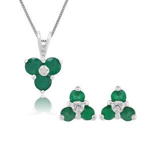 Gemondo 9ct White Gold Emerald & Diamond Cluster Stud Earring & Necklace Set
