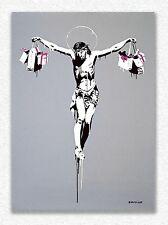Banksy     Christ with Shopping Bags  90 x 65 cm  STAMPA SU TELA QUADRI CANVAS