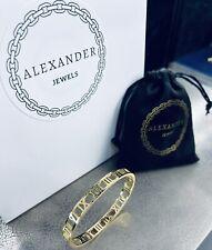 Alexander Jewels - 18k Yellow Gold Plate Roman Numeral Bangle Bracelet