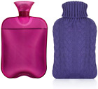 Samply Hot Water Bottle- 2 Liter Water Bag with Knitted Cover,Transparent Purple