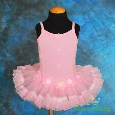 Stretchable Cotton Girl Pink Ballet Tutu Dance Costume Dress Size 4-5 BA019