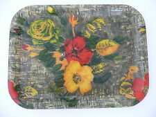 PLATEAU A DECOR FLORAL TRES ANNEES 50  RESINE/ FIBRE DE VERRE 1950 VINTAGE