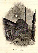 Stampa antica una via di SMIRNE SMYRNA moschea Turchia Turkey 1892 Old Print
