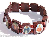 BRACELET FANTAISIE EN BOIS JÉSUS CHRIST CHAPELET SAINT religieux bijoux bonheur