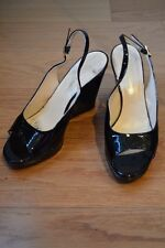 WOMENS FILIPPO RAPHAEL SHOES BLACK PATENT LEATHER PEEP TOE WEDGE SZ 39 AS NEW