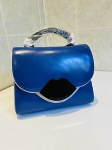Lulu Guinness Izzy Satchel Hand Bag New Never Even Opened Blue Lips With Strap