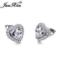 Fashion White Sapphire Heart Stud Earrings White Gold Jewelry Womens Gril's Gift