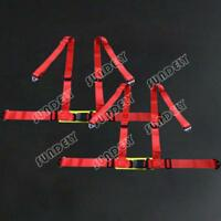 PAIR OF RED 3 4 POINT RACING SEAT BELT HARNESSES FOR CAR/OFF ROAD/4x4 HARNESS AU
