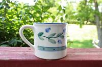 Vintage HARTSTONE Blueberry Band Mug Cup Large 1982 Signed Handpainted Stoneware