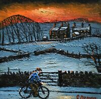 James Downie Original Oil Painting - Riding Through The Snowy Countryside