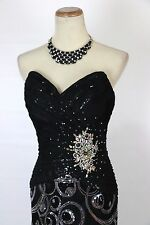 New TONY BOWLS 11249 Authentic Black Strapless Sequins Prom Women Party Dress 2