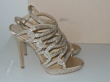 JIMMY CHOO DART SATIN & CRYSTAL STRAPPY PLATFORM SANDALS SIZE 37.5