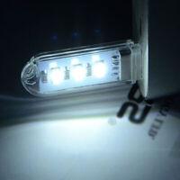 2x Car Mini Portable 3 LED Bright USB Night Light Gadgets For PC Laptop Reading