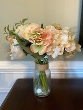 Floral Centerpiece in Glass Vase Faux Flowers 10 Inches Tall