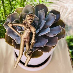 Antique Metal Brass Gold Tone Tribal Woman Warrior Figurine Folk Art Decor