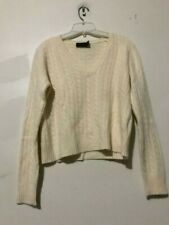 The Limited Size M Cashmere Wool Angora Rabbit Hair Cream Sweater Women Rn#54874