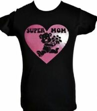 SUPER MOM~GREAT MOTHERS DAY/B'DAY GIFT~ BLACK T-SHIRT & PINK GLIITER SIZE S-XXL
