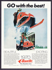 """1970 Allouuette Big """"A"""" Snowmobile photo """"Go with the Best"""" vintage print ad"""
