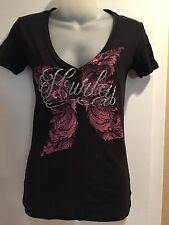HURLEY Women's Graphic Tee Black V neck Sz small