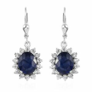 Masoala Sapphire, Natural Zircon Earrings Platinum O/lay S/Silver 10.50 cts
