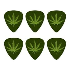 Marijuana Leaf Design Cannabis Pot Novelty Guitar Picks Medium Gauge - Set of 6