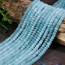 """2x4mm Natural Aquamarine Faceted Rondelle Gemstone Loose Beads 15"""" AAA"""