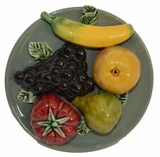 French Antique Vallauris Majolica Fruits Wall Plate - French Kitchen Plate