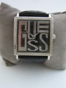 GUESS WOMENS WATCH W95056L1 STAINLESS STEEL LEATHER CRYSTALS GENUINE