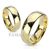 FAMA Stainless Steel Laser Etched Lord of the Rings Gold IP Band Ring Size 5-13